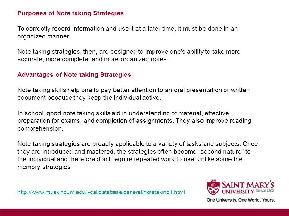 Purposes of Note taking Strategies