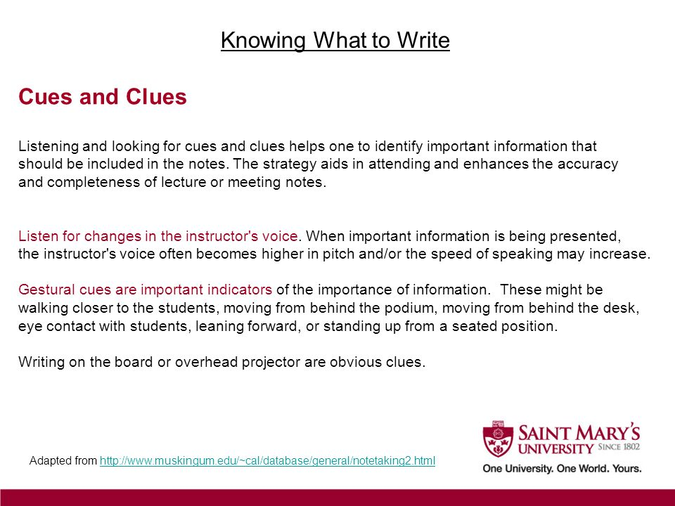 Knowing What to Write Cues and Clues