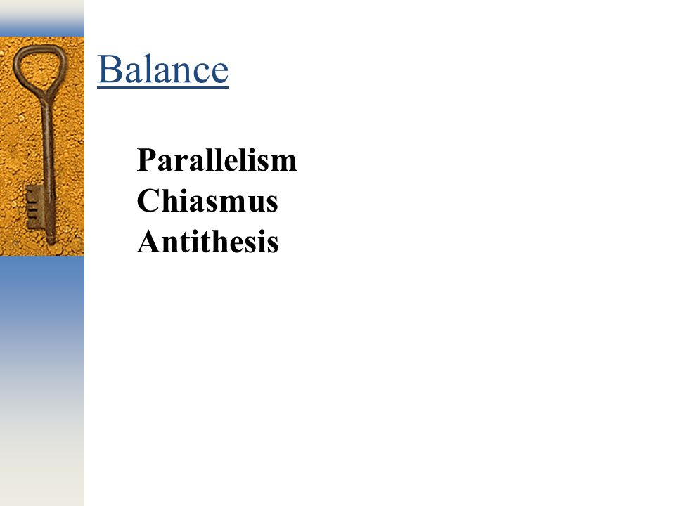 parallelism with antithesis Metaphor could also contain antithesis, repetition, and parallelism for that  reason, sometimes it's hard to identify the exact technique(s) being used your  ability.