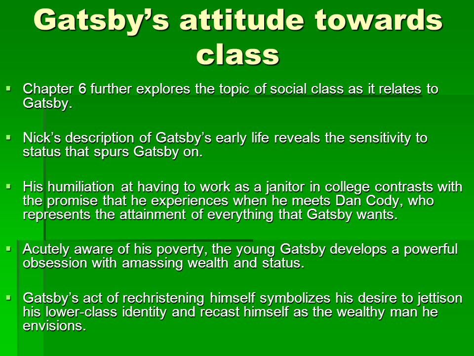the great gatsby and social class The conflict of social classes as represented in fscott fitzgerald's the great gatsby by santi ramdhani (1209503155).