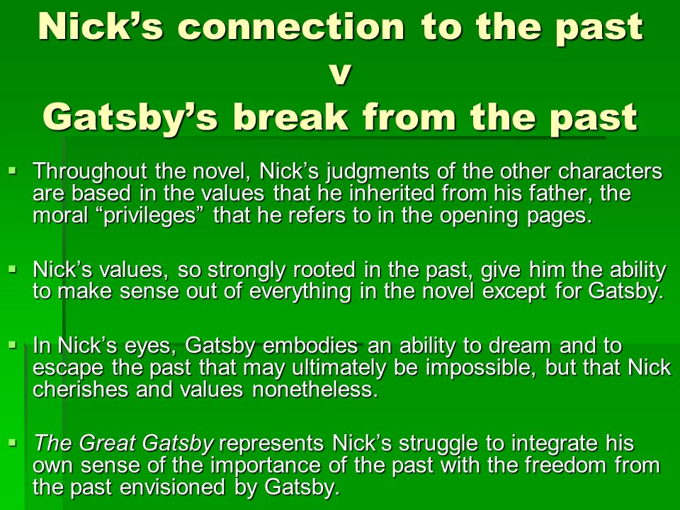 nick in the opening chapter of the great gatsby essay Additional chapter novel the great gatsby english literature essay  are not many differences between the explanation of gatsby to nick and my additional chapter.