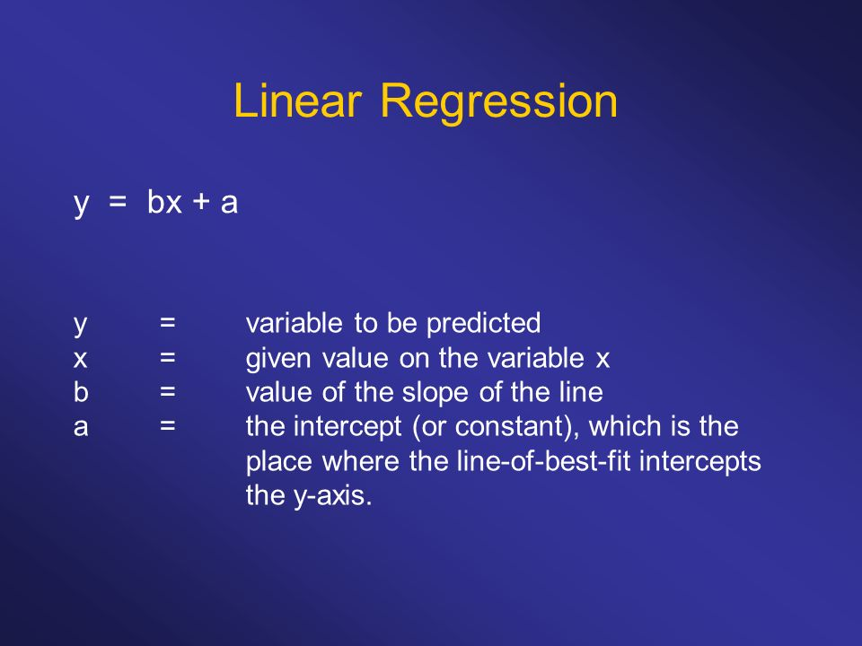 Linear Regression y = bx + a