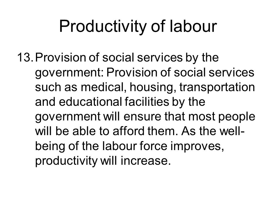 Productivity of labour