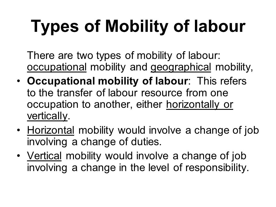 Types of Mobility of labour