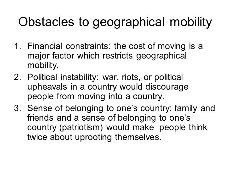 Obstacles to geographical mobility