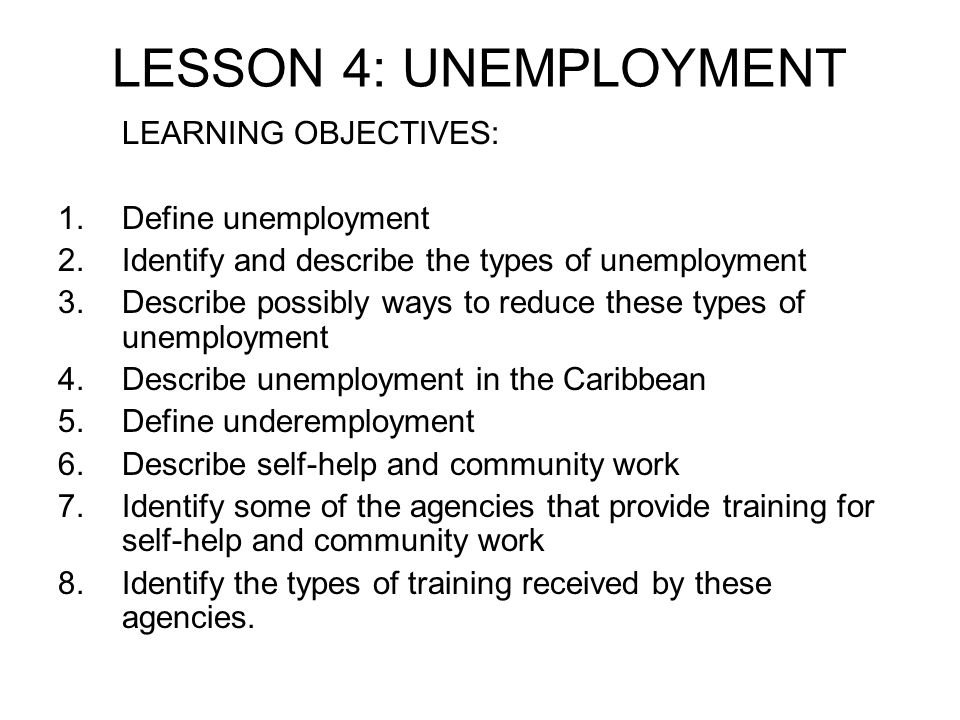 LESSON 4: UNEMPLOYMENT LEARNING OBJECTIVES: Define unemployment