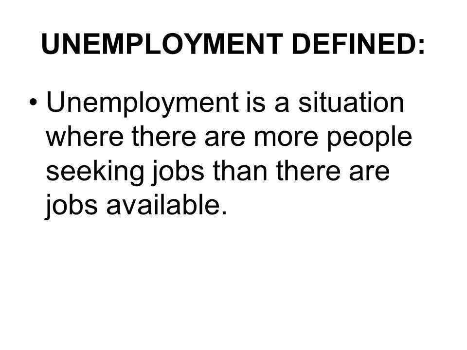 UNEMPLOYMENT DEFINED: