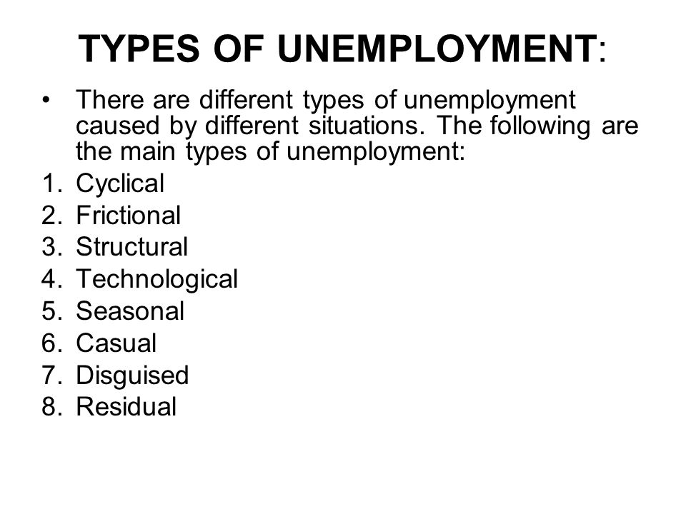 TYPES OF UNEMPLOYMENT: