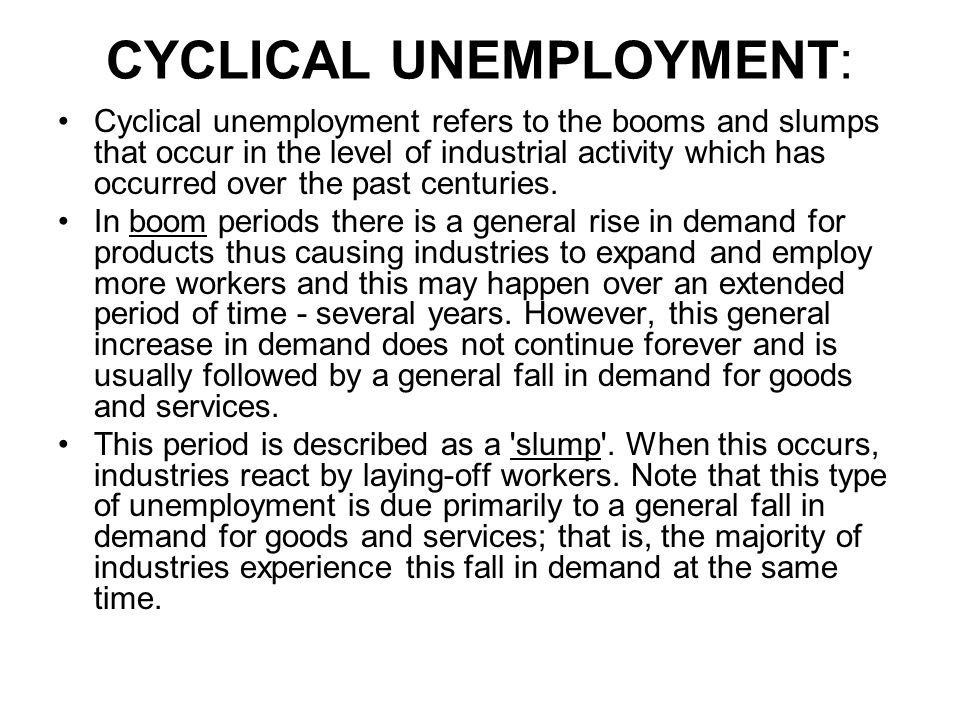 CYCLICAL UNEMPLOYMENT: