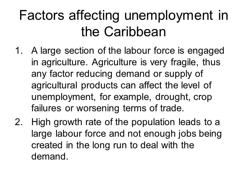 Factors affecting unemployment in the Caribbean