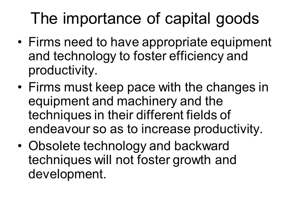 The importance of capital goods