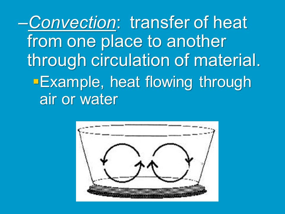 Convection: transfer of heat from one place to another through circulation of material.