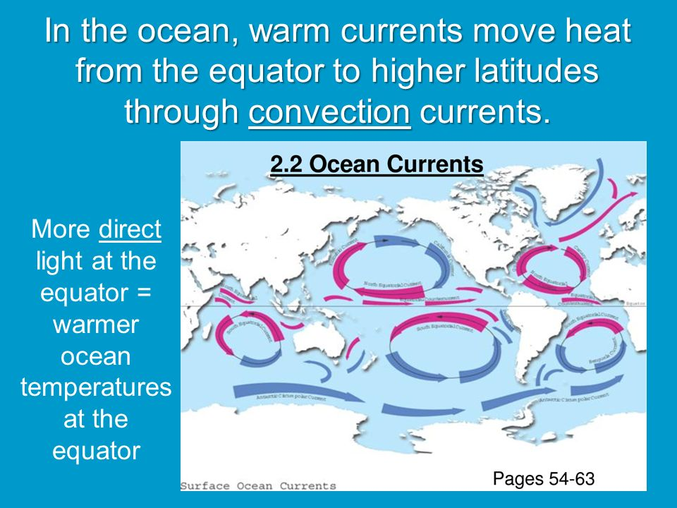 In the ocean, warm currents move heat from the equator to higher latitudes through convection currents.
