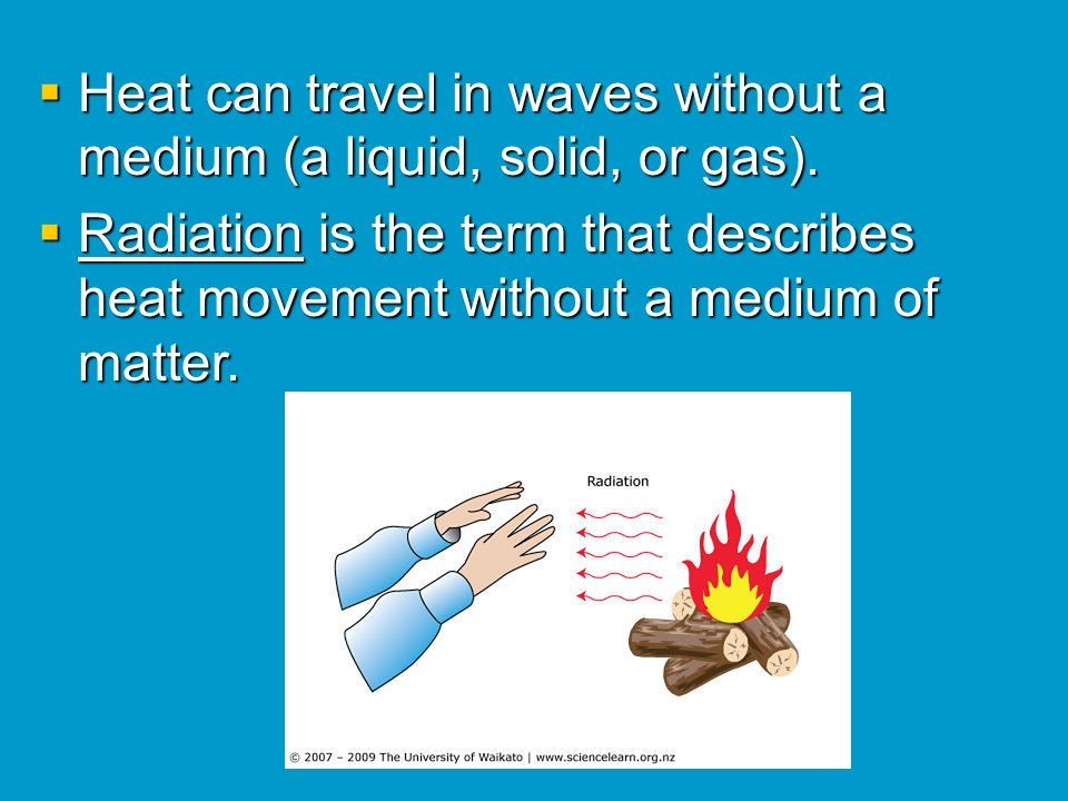 Heat can travel in waves without a medium (a liquid, solid, or gas).