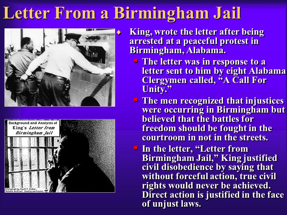 "an argument towards several clergy men in letter from birmingham jail by martin luther king Language of the christian clergy – helps aid in his argument letter from birmingham jail"" – martin from birmingham jail"" – martin luther king."