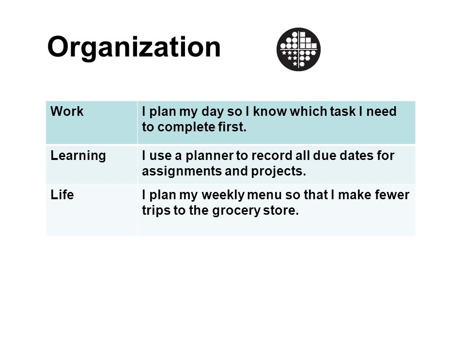 Organization Work. I plan my day so I know which task I need to complete first. Learning.