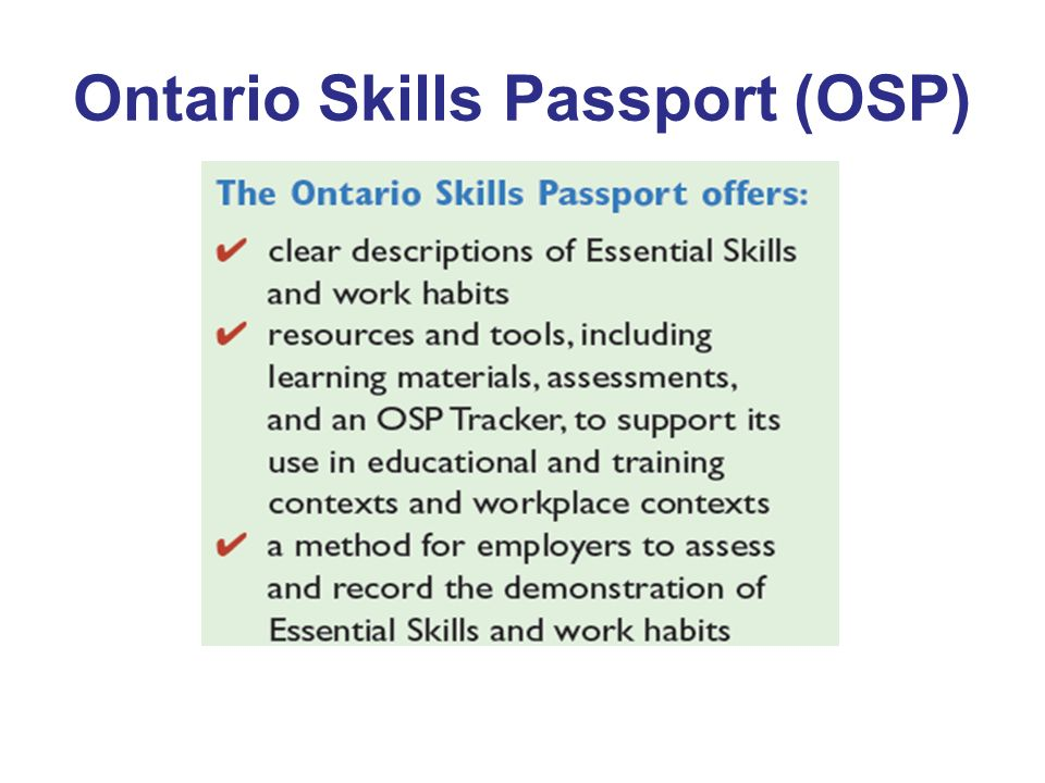 Ontario Skills Passport (OSP)