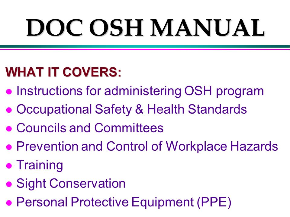 occupational health and safety training manual pdf