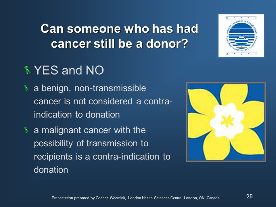 Can someone who has had cancer still be a donor