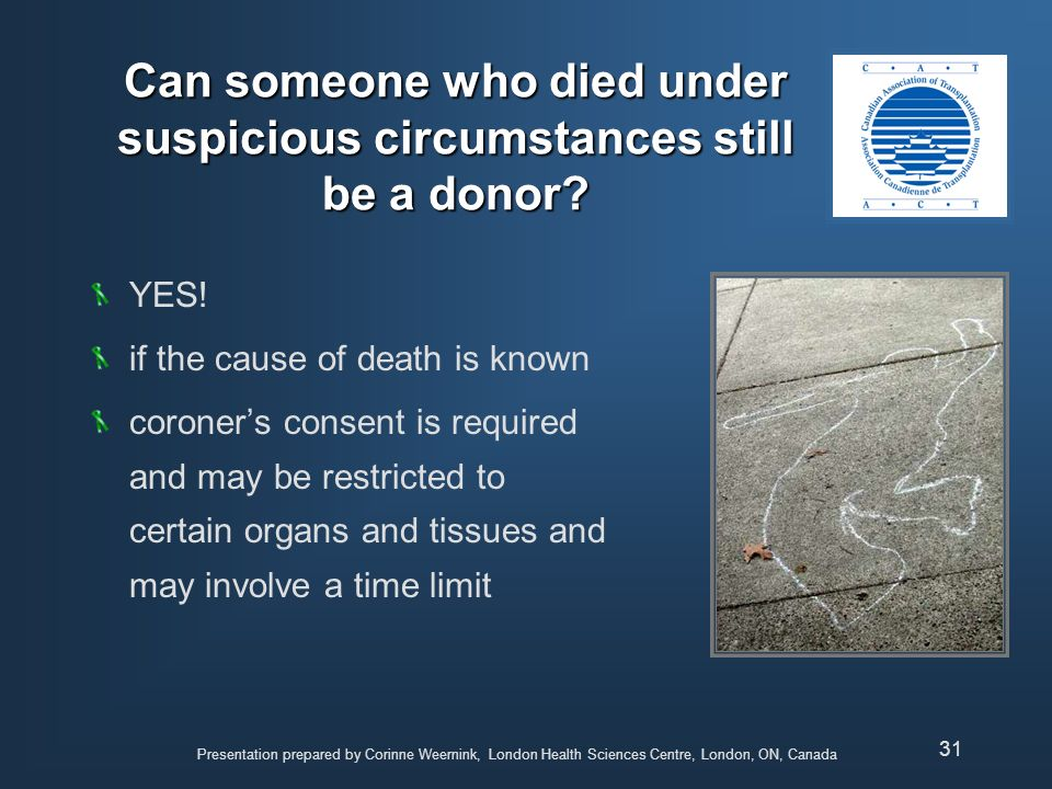 Can someone who died under suspicious circumstances still be a donor