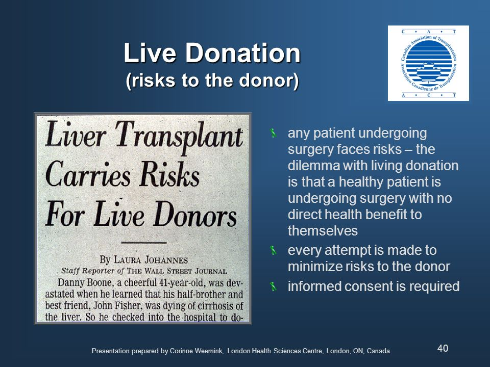 Live Donation (risks to the donor)