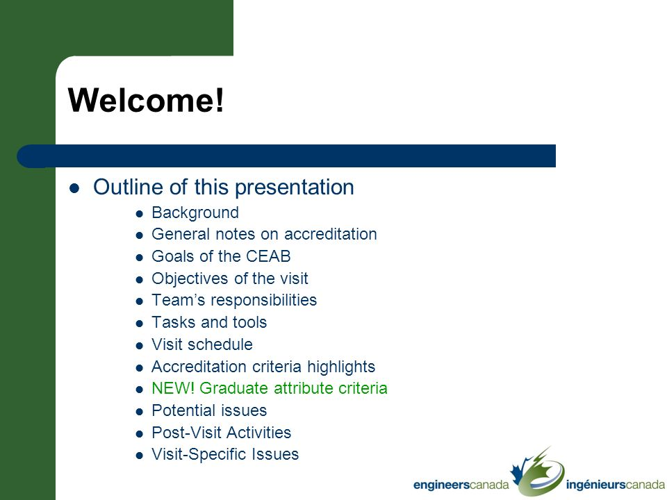 Welcome! Outline of this presentation Background