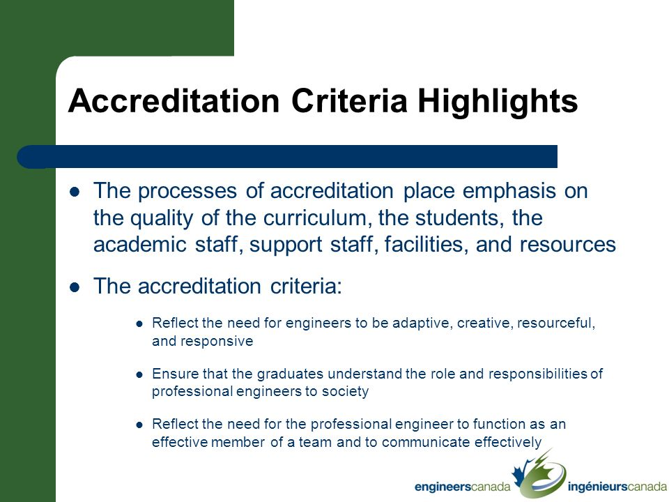 Accreditation Criteria Highlights