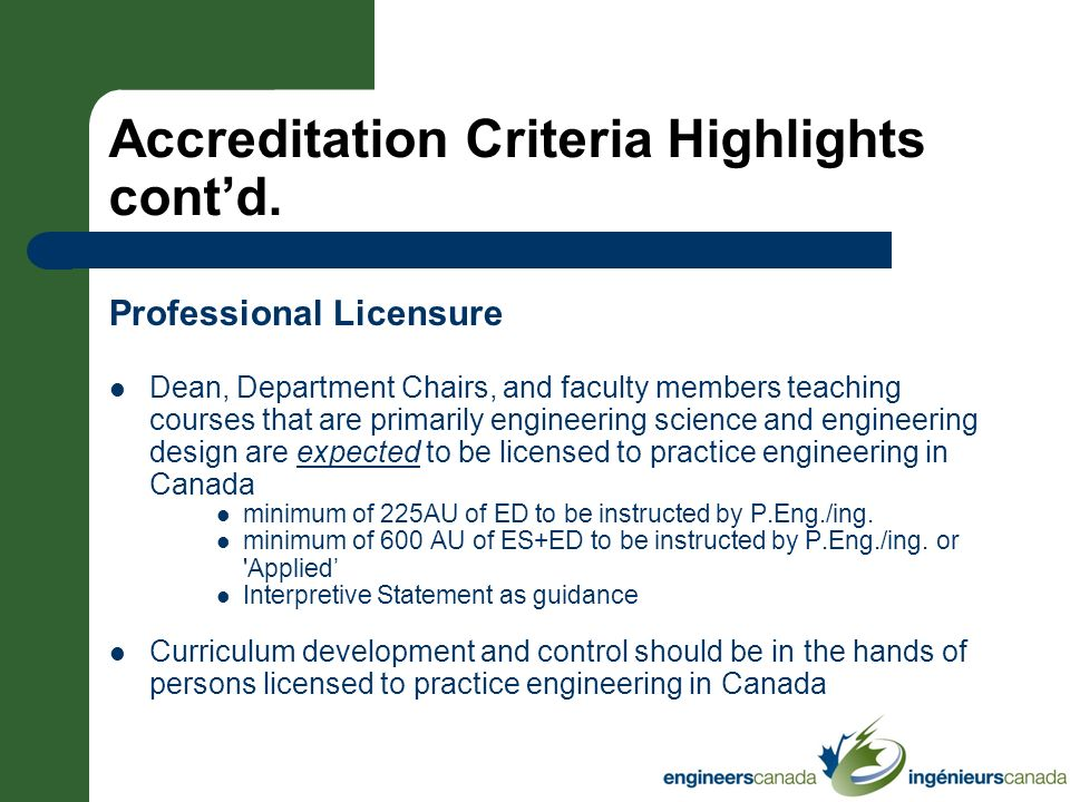 Accreditation Criteria Highlights cont'd.