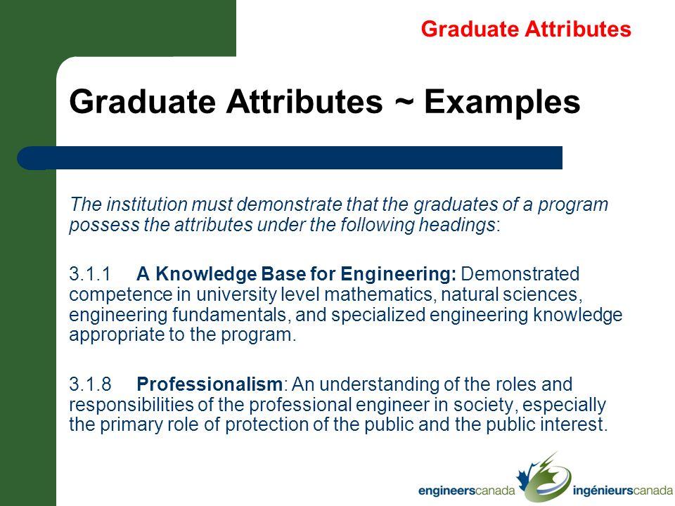 Graduate Attributes ~ Examples