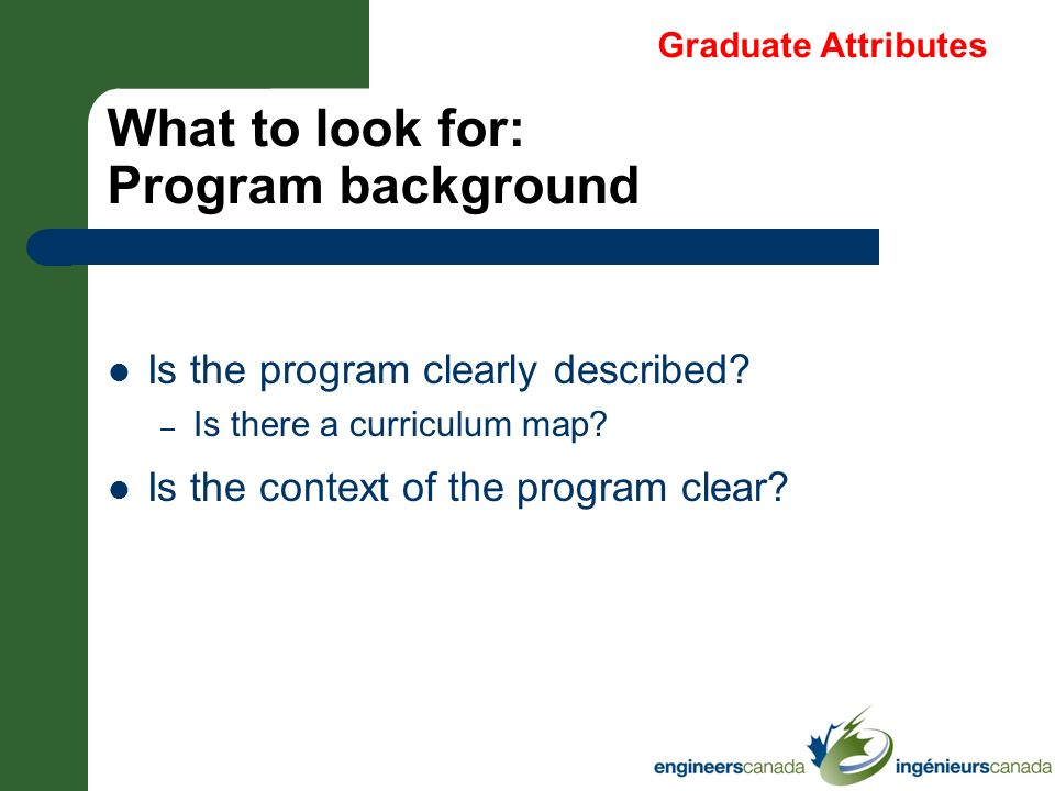 What to look for: Program background