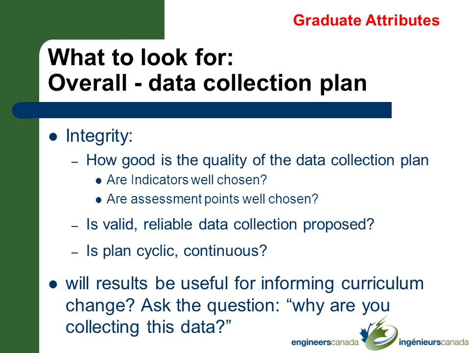 What to look for: Overall - data collection plan