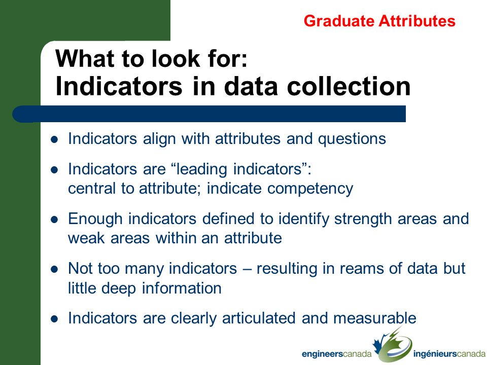 What to look for: Indicators in data collection