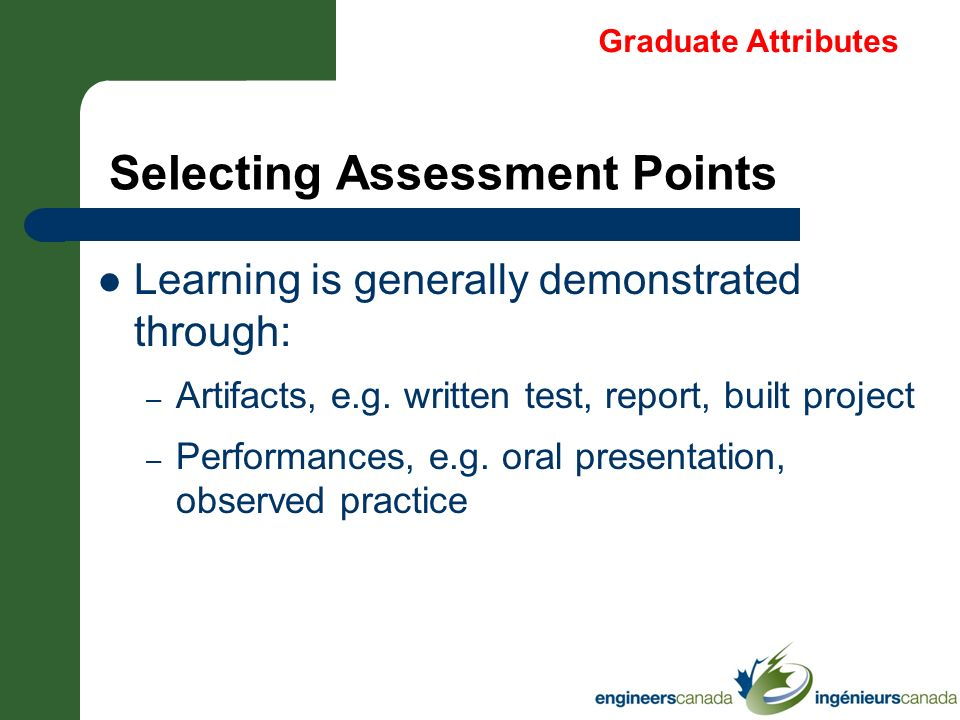 Selecting Assessment Points