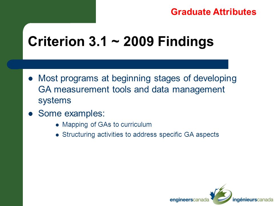 Criterion 3.1 ~ 2009 Findings Graduate Attributes