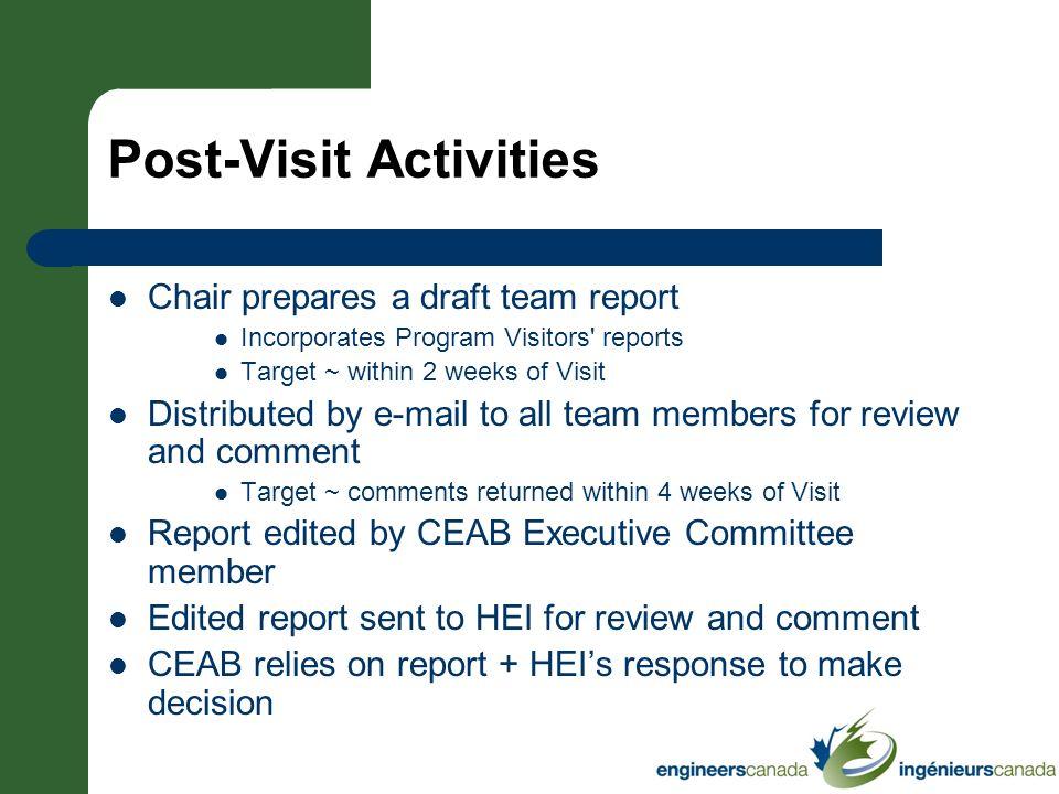 Post-Visit Activities