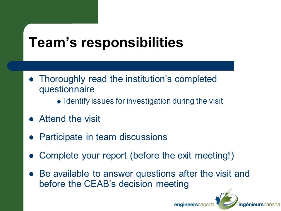 Team's responsibilities
