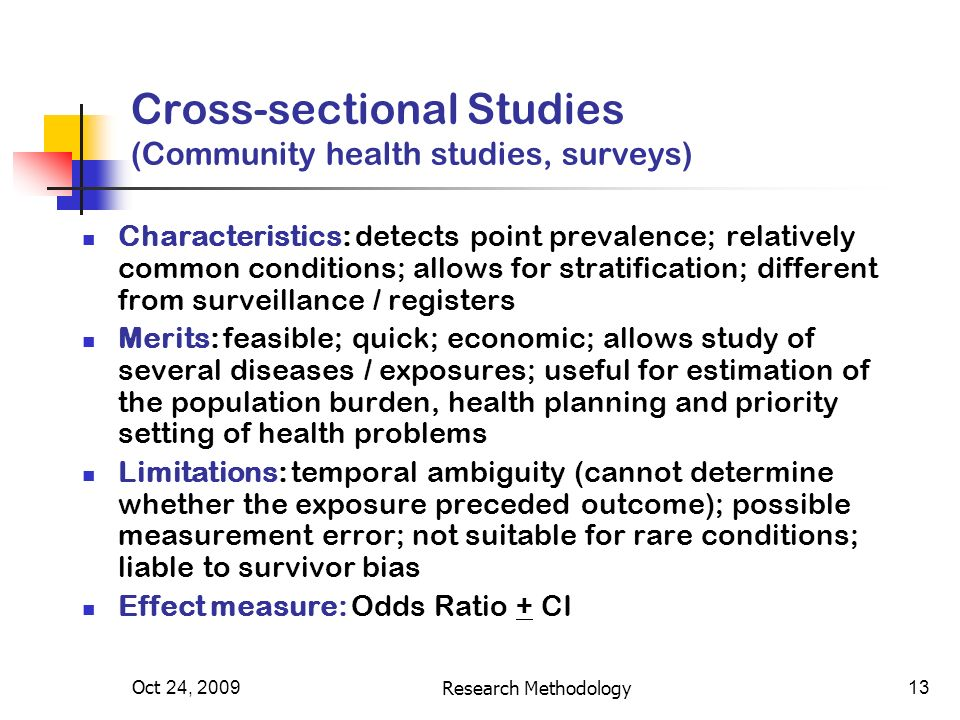 13 Cross Sectional Studies