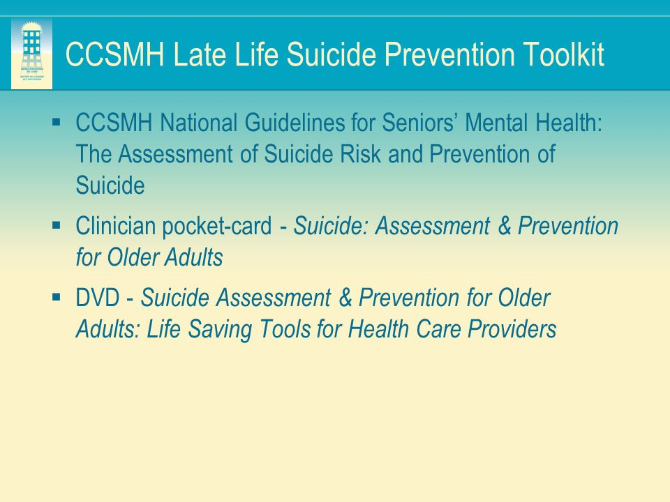 CCSMH Late Life Suicide Prevention Toolkit