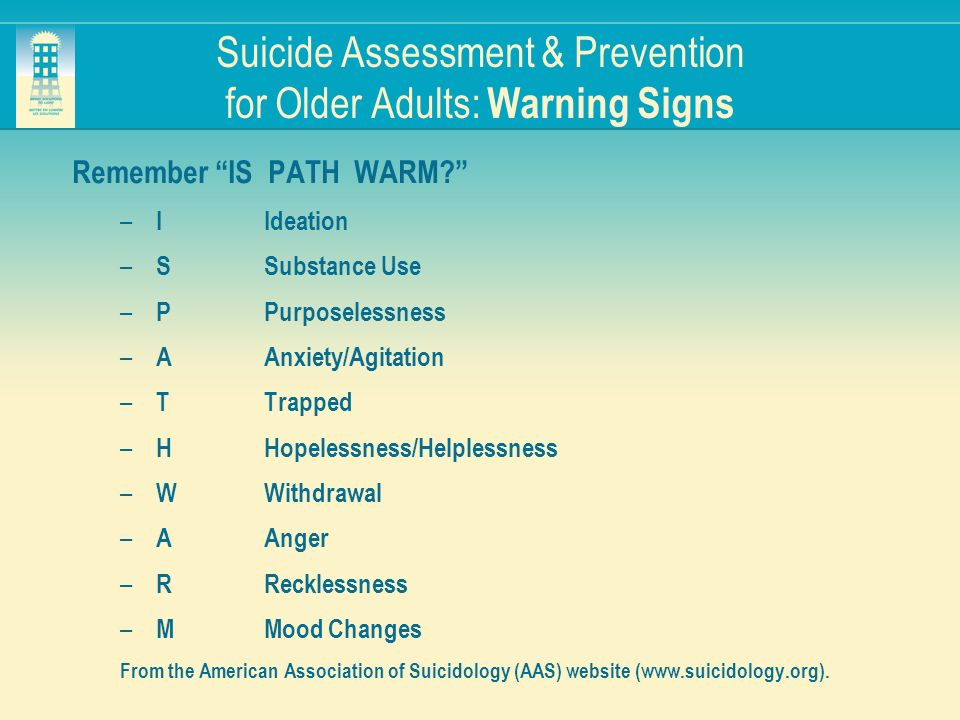 Suicide Assessment & Prevention for Older Adults: Warning Signs