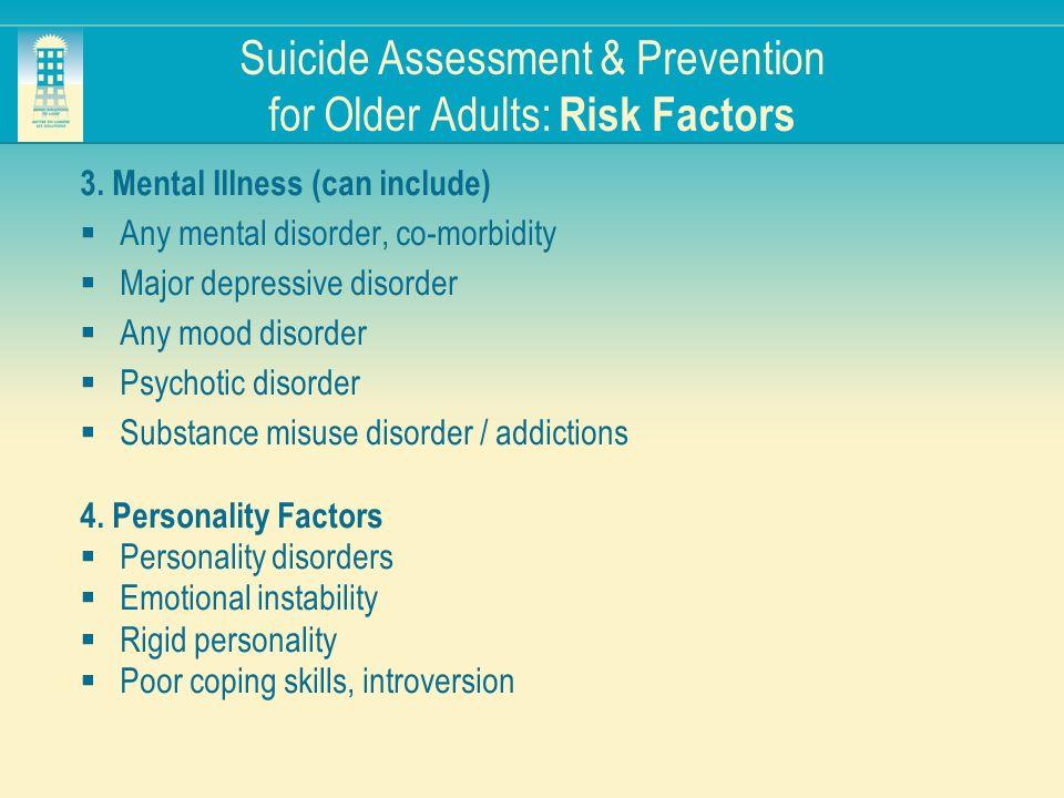 Suicide Assessment & Prevention for Older Adults: Risk Factors