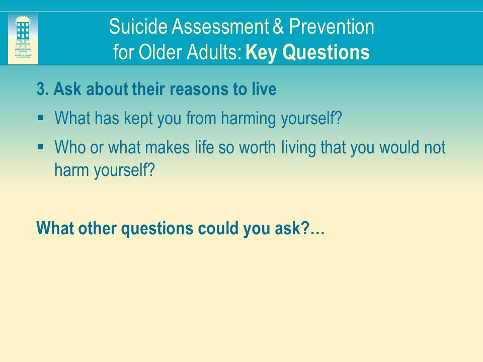 Suicide Assessment & Prevention for Older Adults: Key Questions