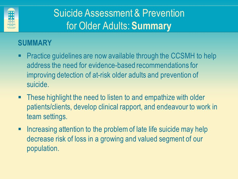 Suicide Assessment & Prevention for Older Adults: Summary