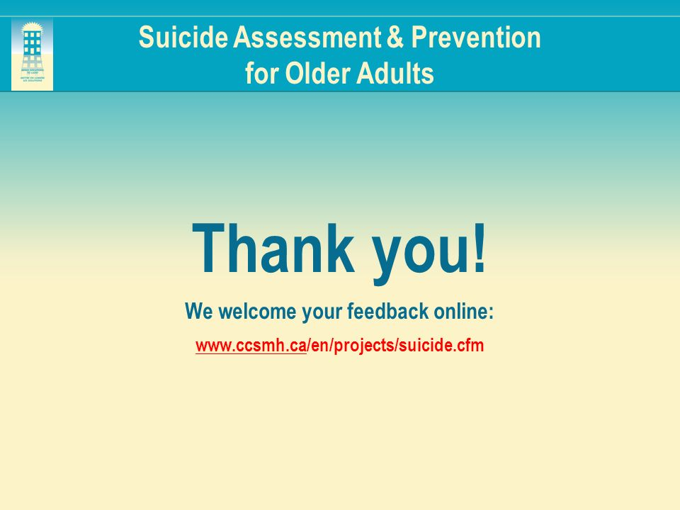 Suicide Assessment & Prevention for Older Adults