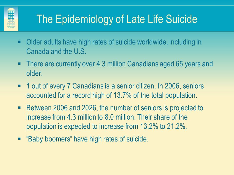 The Epidemiology of Late Life Suicide