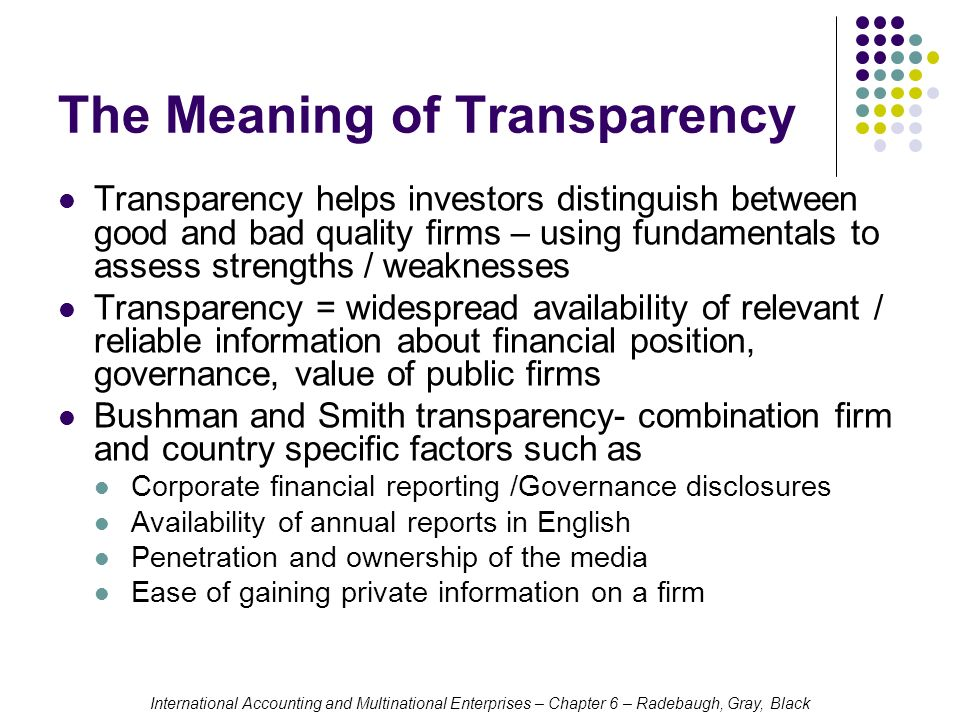 financial reporting transparency definition in a relationship