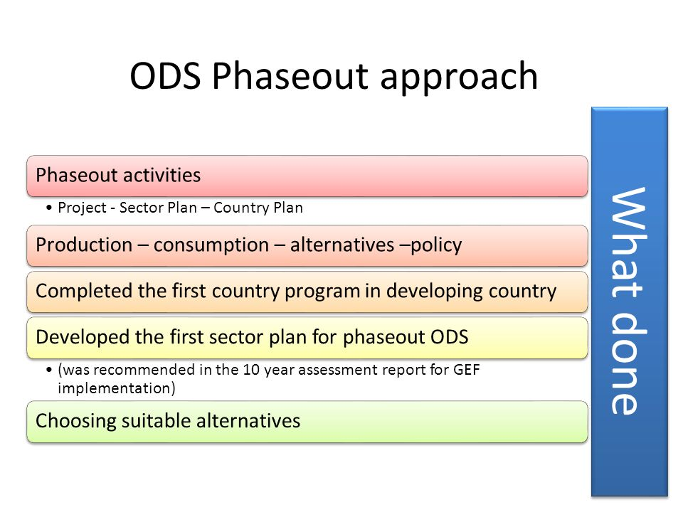 What done ODS Phaseout approach Phaseout activities