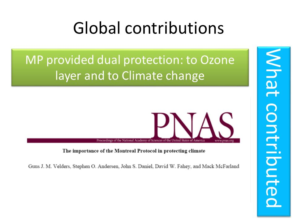MP provided dual protection: to Ozone layer and to Climate change