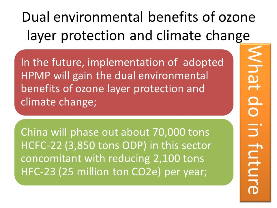 Dual environmental benefits of ozone layer protection and climate change