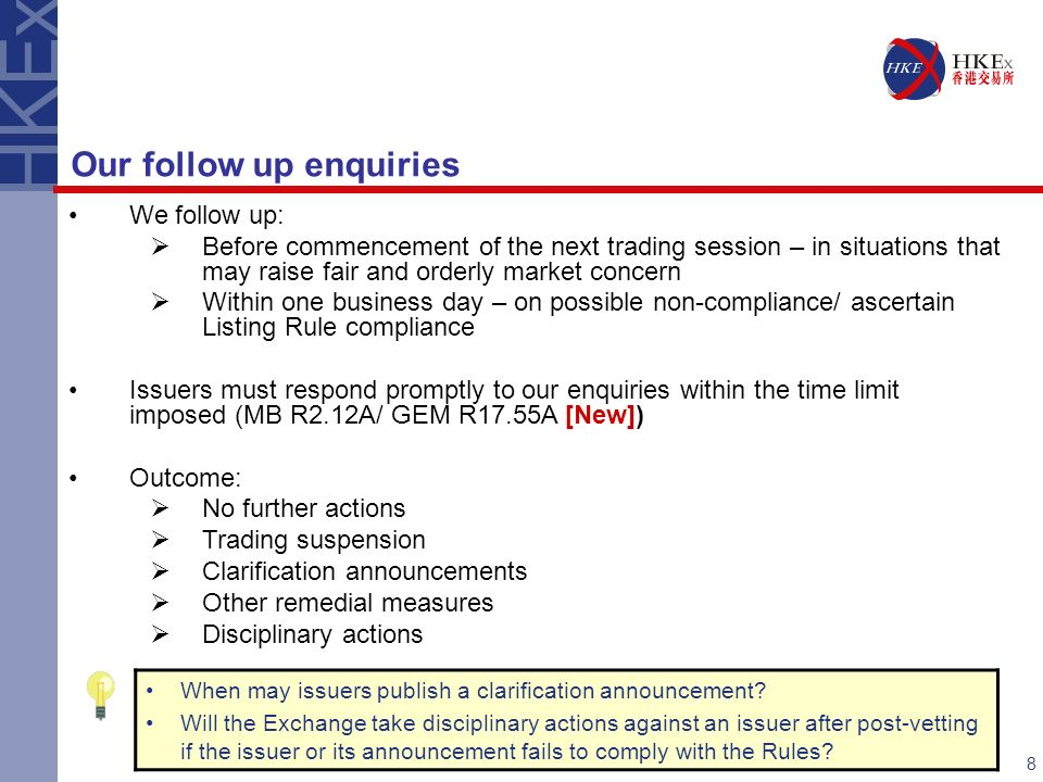 Recent amendments to the listing rules ppt download 8 our follow up enquiries platinumwayz