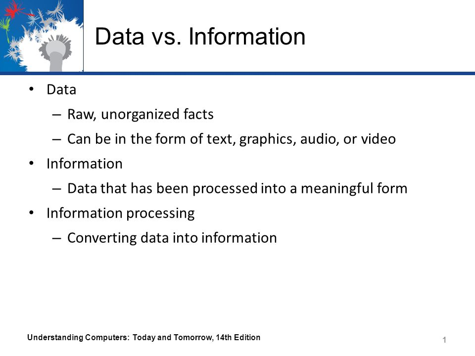 information vs data processing When study ing ict it is important to understand the difference between data and information hence the need for data processing data comes in many forms.